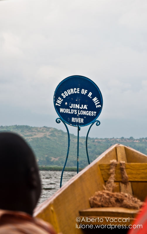 Sign stating the 'official' source of the river Nile, the longest river in the world.